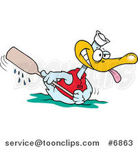 Cartoon Rowing Duck by Toonaday