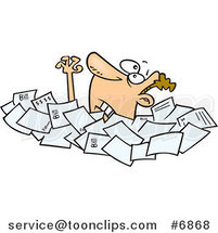 Cartoon Business Man Drowning in Papers by Toonaday