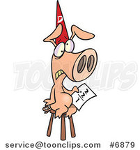 Cartoon Pig Wearing a Dunce Hat by Toonaday