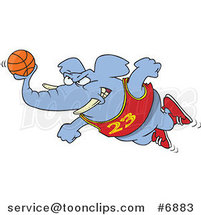 Cartoon Basketball Elephant by Ron Leishman