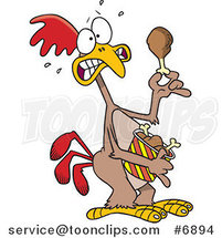 Cartoon Scared Chicken Holding a Drumstick by Ron Leishman