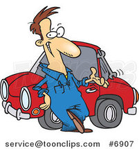 Cartoon Auto Mechanic Tossing a Wrench by Ron Leishman