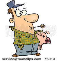 Cartoon Farmer Holding His Pig by Toonaday