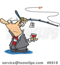 Cartoon Guy Fancy Fishing with Wine by Ron Leishman