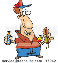 Cartoon Guy with Soda and a Hot Dog by Ron Leishman
