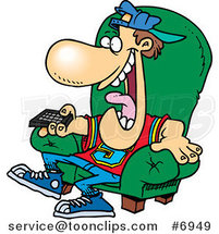 Cartoon Sports Fan Holding a Tv Remote by Ron Leishman