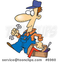 Cartoon Repair Guy Carrying a Tool Box by Ron Leishman