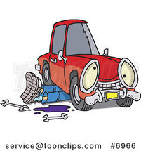 Cartoon Mechanic Working Under a Car by Ron Leishman
