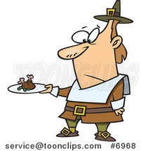 Cartoon Pilgrim Guy Carrying a Meagre Meal by Ron Leishman