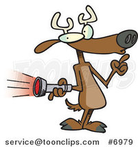 Cartoon Deer Holding a Flashlight by Ron Leishman