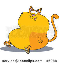 Cartoon Sitting Fat Cat by Ron Leishman