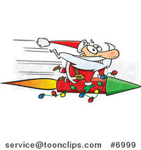 Cartoon Santa Riding a Fast Rocket by Ron Leishman