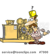 Cartoon Mechanic Working on a Machine by Ron Leishman
