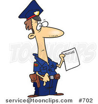 Cartoon Police Officer Holding a Warrant by Toonaday