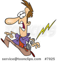 Cartoon Misfortunate Business Man Running from Lightning by Toonaday