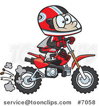 Cartoon Boy Riding a Dirt Bike by Ron Leishman