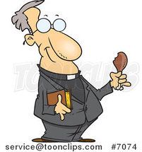 Cartoon Minister Holding a Bible and Drumstick by Ron Leishman