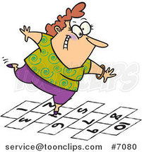 Cartoon Happy Lady Playing Hopscotch by Ron Leishman