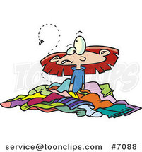 Cartoon Girl in a Pile of Stinky Laundry by Ron Leishman