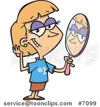 Cartoon Lady Staring Vainly in a Mirror by Ron Leishman