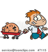 Cartoon Rich Boy Pulling His Piggy Bank in a Wagon by Toonaday