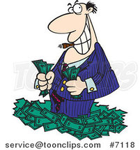 Cartoon Rich Business Man Standing in Cash by Toonaday