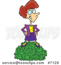 Cartoon Rich Business Woman Standing on Cash by Toonaday
