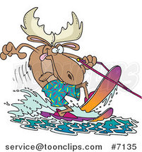 Cartoon Waterskiing Moose by Ron Leishman