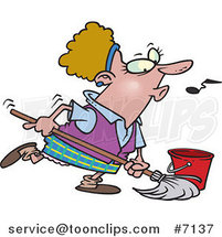 Cartoon Lady Whistling While Mopping by Ron Leishman