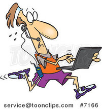 Cartoon Mobile Jogger Using a Laptop by Ron Leishman