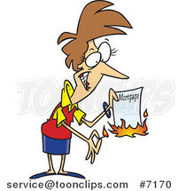 Cartoon Lady Burning Her Mortgage by Toonaday