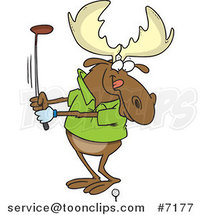 Cartoon Golfing Moose by Ron Leishman