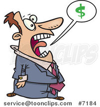 Cartoon Business Man Shouting About Money by Toonaday