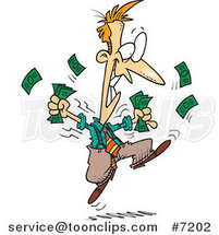 Cartoon Excited Business Man Holding Cash by Toonaday