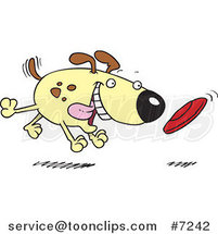 Cartoon Dog Fetching a Disc by Ron Leishman