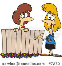 Cartoon Lady Neighbors Chatting over a Fence by Ron Leishman
