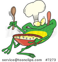 Cartoon Frog Chef Mixing Flies by Ron Leishman