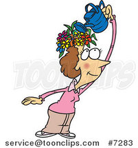 Cartoon Fertile Lady Watering the Flowers on Her Head by Ron Leishman