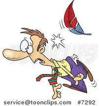 Cartoon Feather Knocking out a Business Man by Toonaday