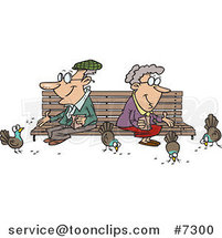 Cartoon Senior Couple Feeding Birds by Ron Leishman