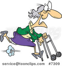 Cartoon Feisty Granny Running with a Walker by Ron Leishman