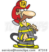 Cartoon Fire Fighter Carrying an Axe and Hose by Ron Leishman