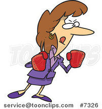 Cartoon Feisty Business Woman Wearing Boxing Gloves by Ron Leishman