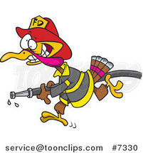 Cartoon Fire Fighter Turkey Carrying a Hose by Ron Leishman