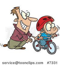Cartoon Father Teaching His Boy to Ride a Bike by Ron Leishman