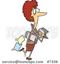 Cartoon Business Woman Carrying and Dropping Files by Ron Leishman