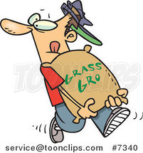 Cartoon Landscaper Carrying a Bag of Fertilizer by Ron Leishman
