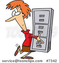 Cartoon Business Woman Carrying a Filing Cabinet by Ron Leishman