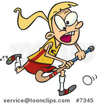 Cartoon Girl Playing Field Hockey by Ron Leishman