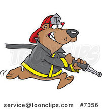 Cartoon Fire Fighter Bear Carrying a Hose by Ron Leishman